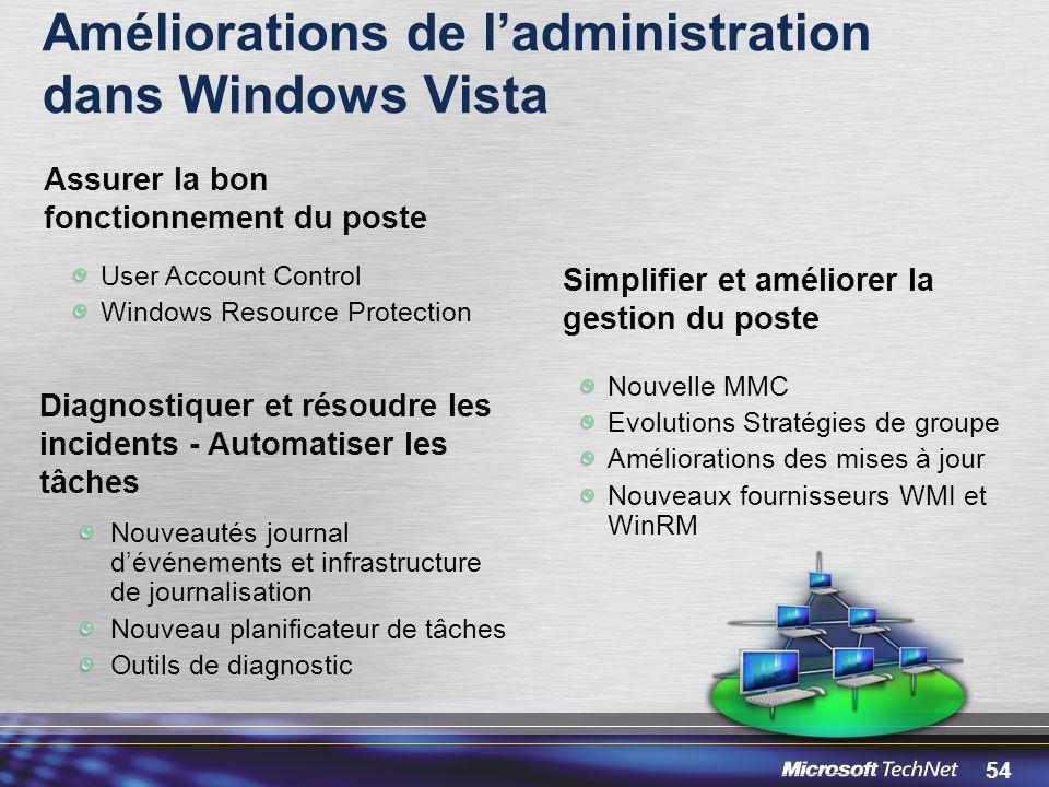 Améliorations de l'administration dans Windows Vista