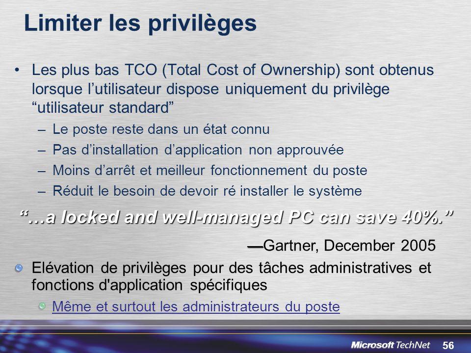 Limiter les privilèges