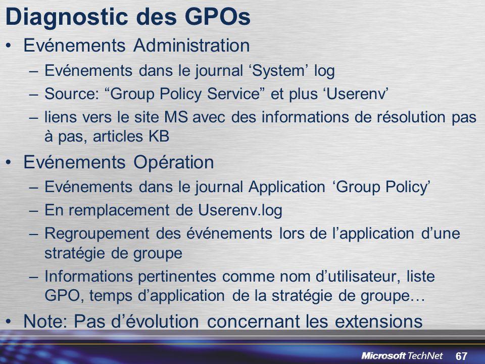 Diagnostic des GPOs Evénements Administration Evénements Opération