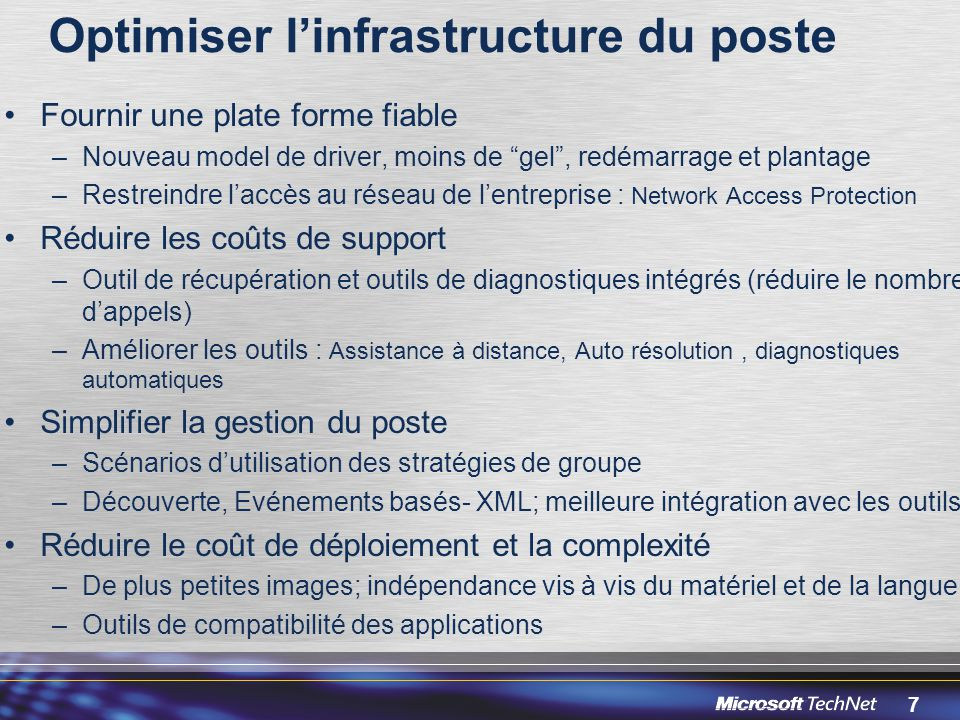 Optimiser l'infrastructure du poste
