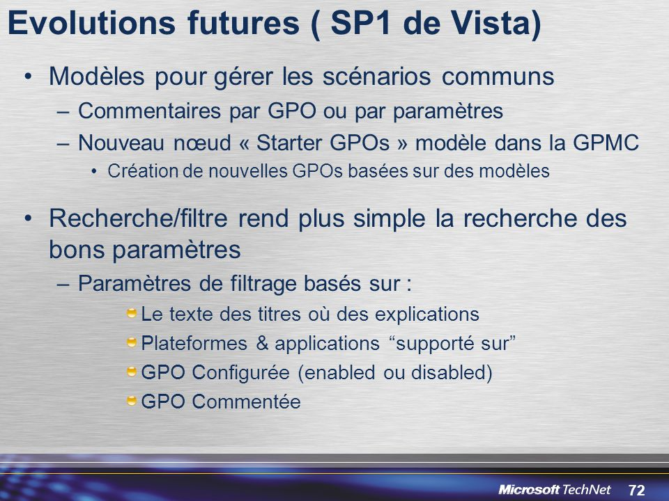 Evolutions futures ( SP1 de Vista)