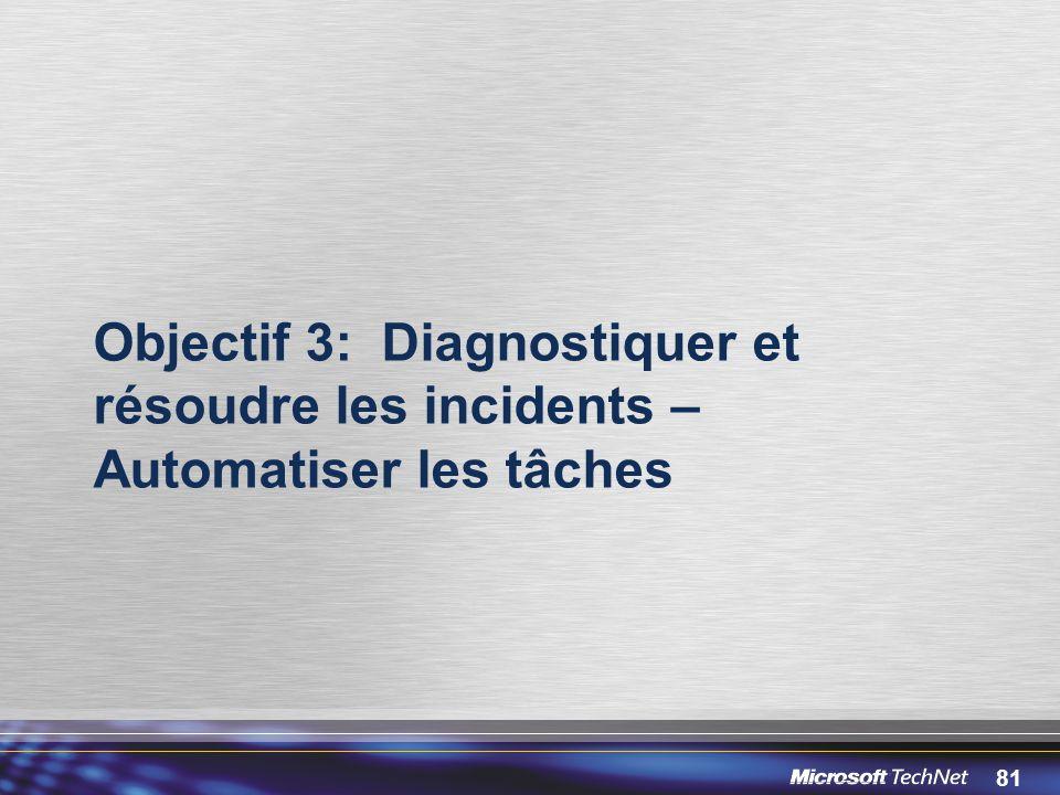Objectif 3: Diagnostiquer et résoudre les incidents – Automatiser les tâches
