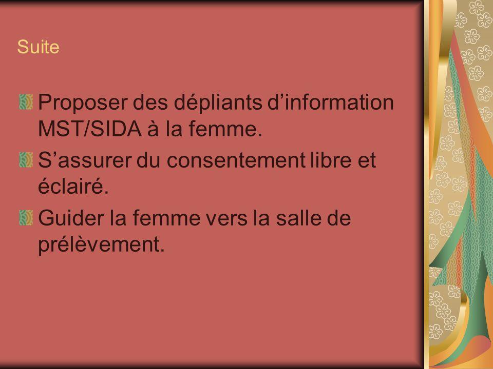 Proposer des dépliants d'information MST/SIDA à la femme.