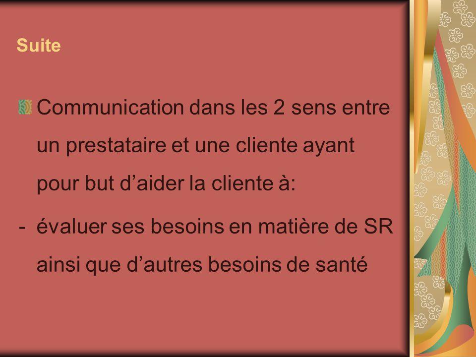 Suite Communication dans les 2 sens entre un prestataire et une cliente ayant pour but d'aider la cliente à: