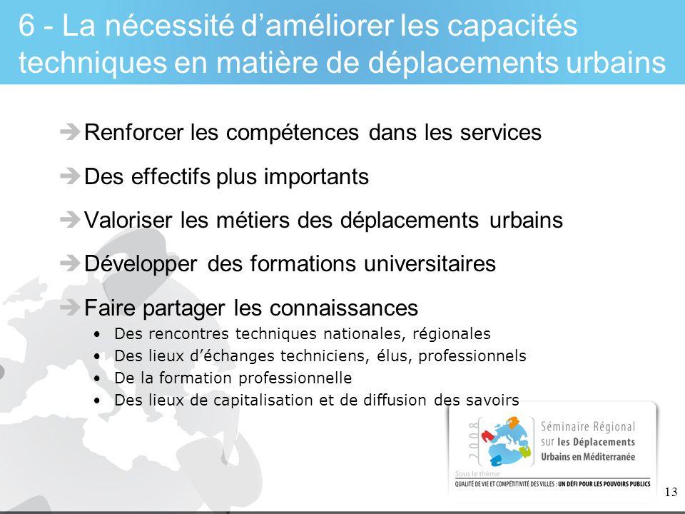 6 - La nécessité d'améliorer les capacités techniques en matière de déplacements urbains
