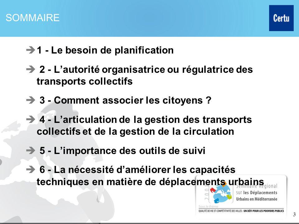 SOMMAIRE 1 - Le besoin de planification. 2 - L'autorité organisatrice ou régulatrice des transports collectifs.