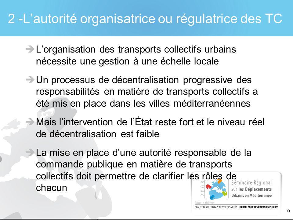 2 -L'autorité organisatrice ou régulatrice des TC