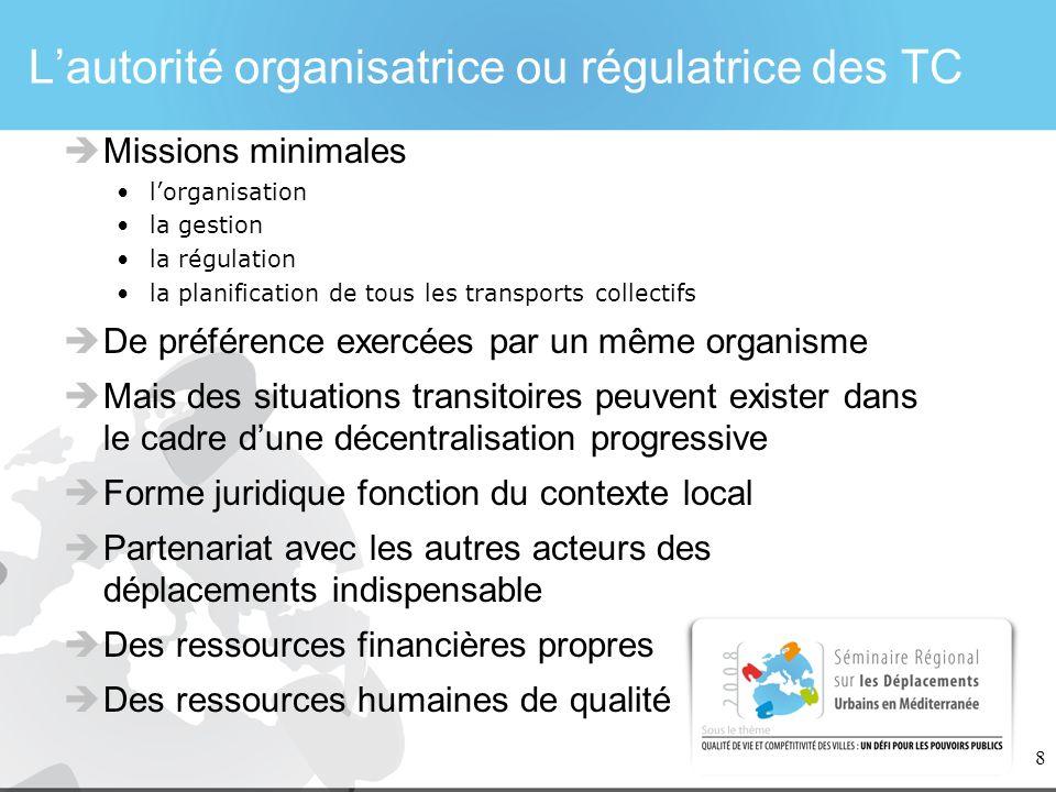 L'autorité organisatrice ou régulatrice des TC