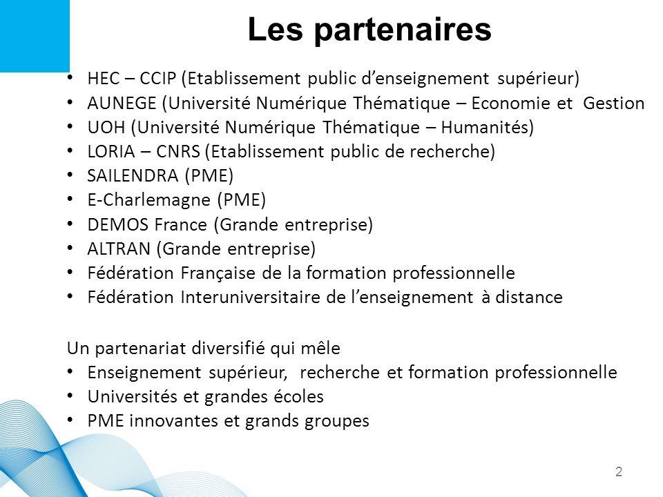 Les partenairesHEC – CCIP (Etablissement public d'enseignement supérieur) AUNEGE (Université Numérique Thématique – Economie et Gestion.