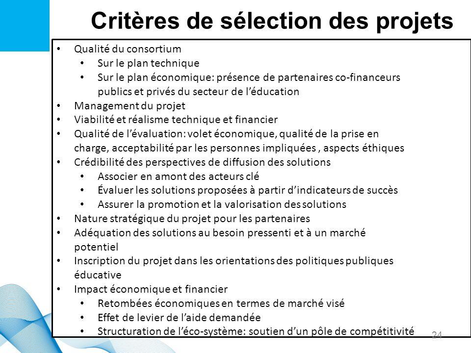 Critères de sélection des projets