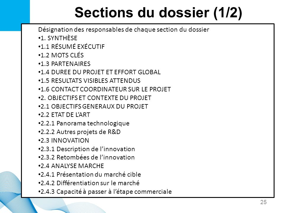 Sections du dossier (1/2)