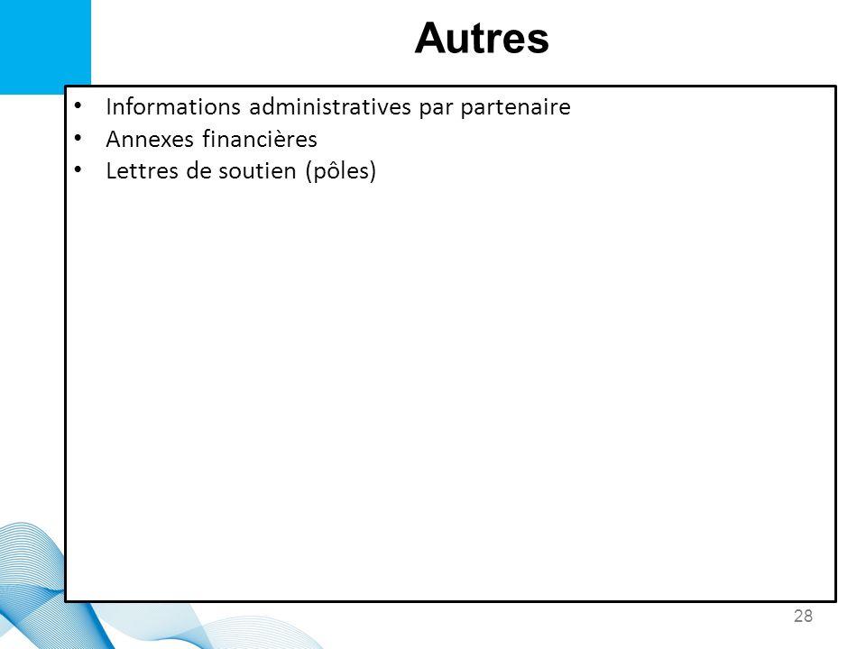 Autres Informations administratives par partenaire Annexes financières
