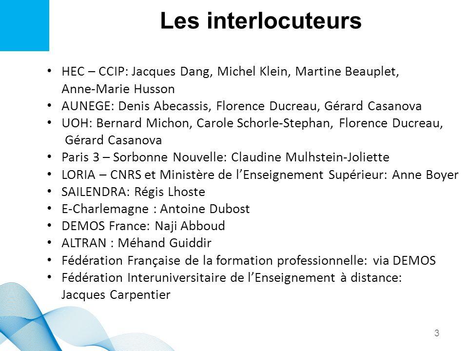 Les interlocuteursHEC – CCIP: Jacques Dang, Michel Klein, Martine Beauplet, Anne-Marie Husson.