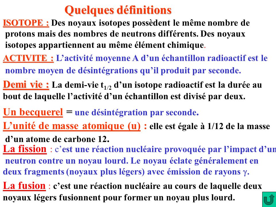 Quelques définitions ISOTOPE : Des noyaux isotopes possèdent le même nombre de. protons mais des nombres de neutrons différents. Des noyaux.