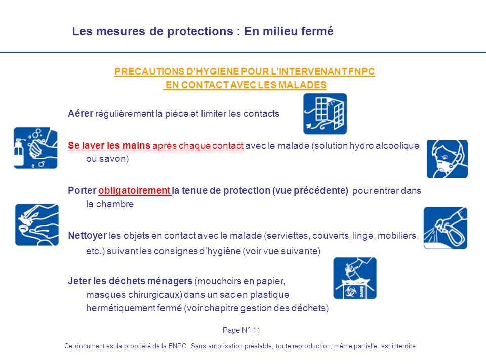 Les mesures de protections : En milieu fermé