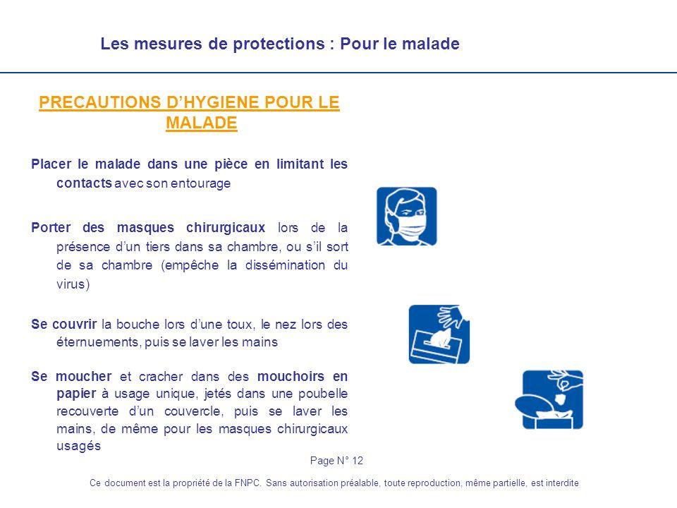 PRECAUTIONS D'HYGIENE POUR LE MALADE