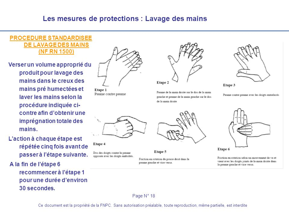 PROCEDURE STANDARDISEE DE LAVAGE DES MAINS (NF RN 1500)