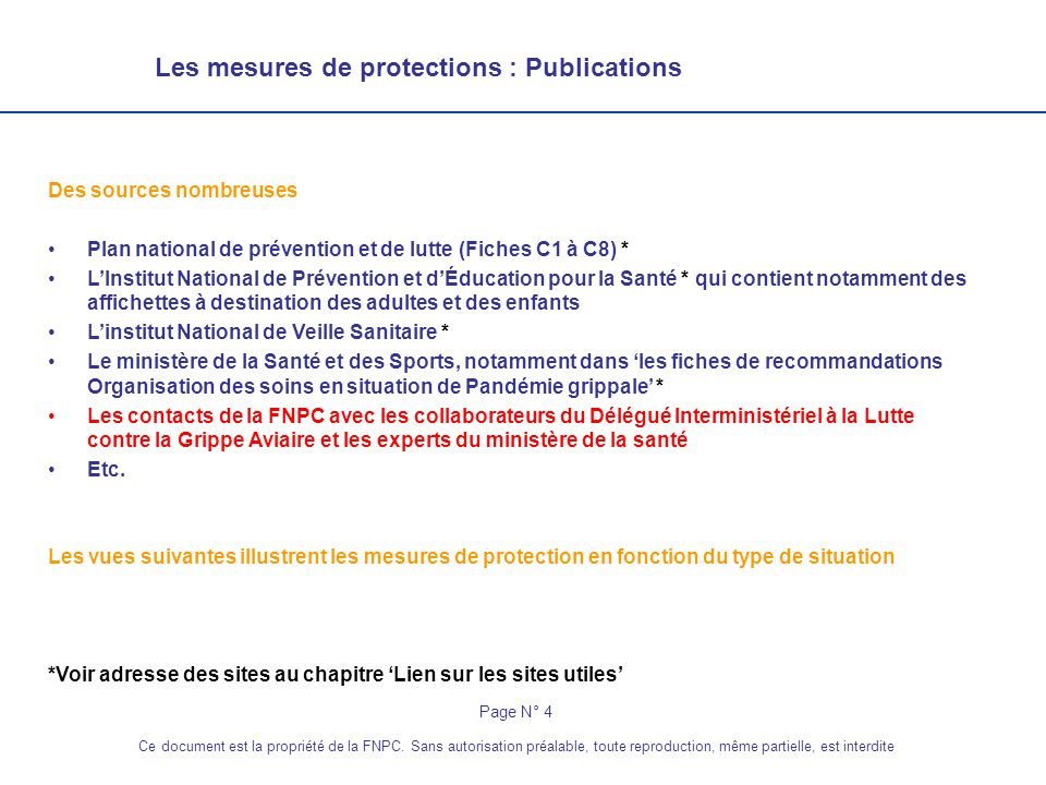 Les mesures de protections : Publications