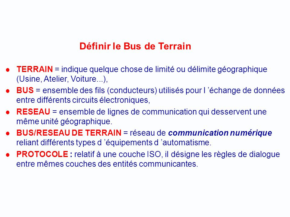 Définir le Bus de Terrain