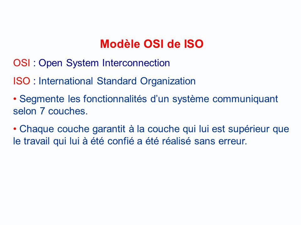 Modèle OSI de ISO OSI : Open System Interconnection
