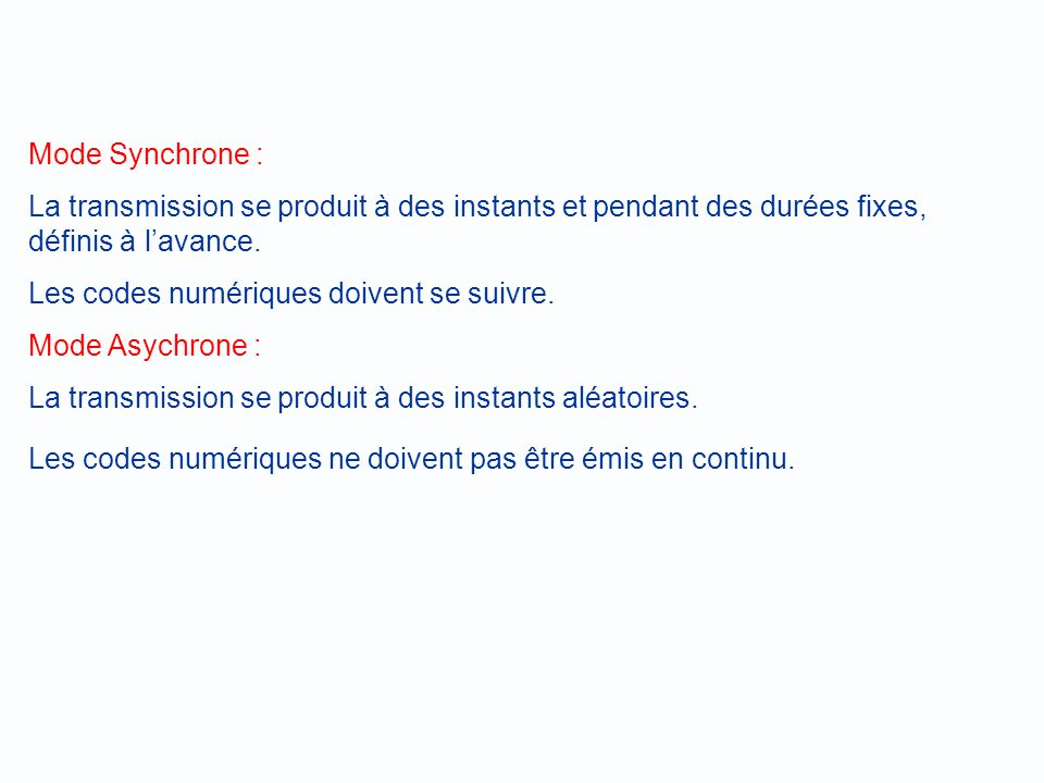 Mode Synchrone : La transmission se produit à des instants et pendant des durées fixes, définis à l'avance.