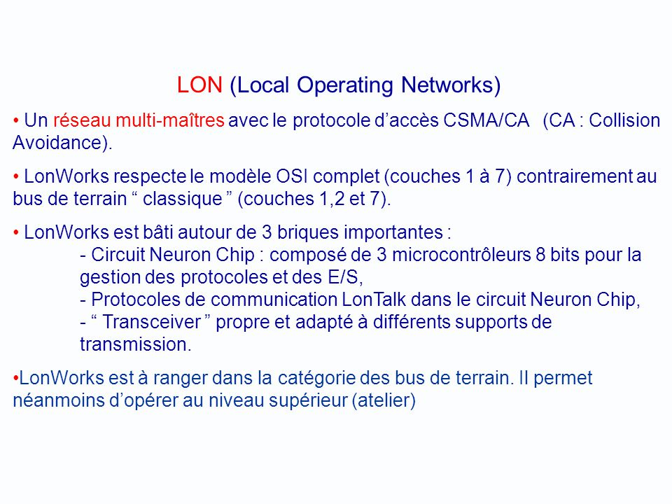 LON (Local Operating Networks)