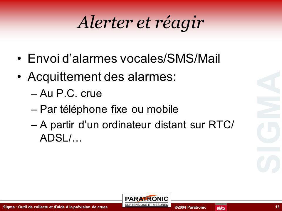 Alerter et réagir Envoi d'alarmes vocales/SMS/Mail