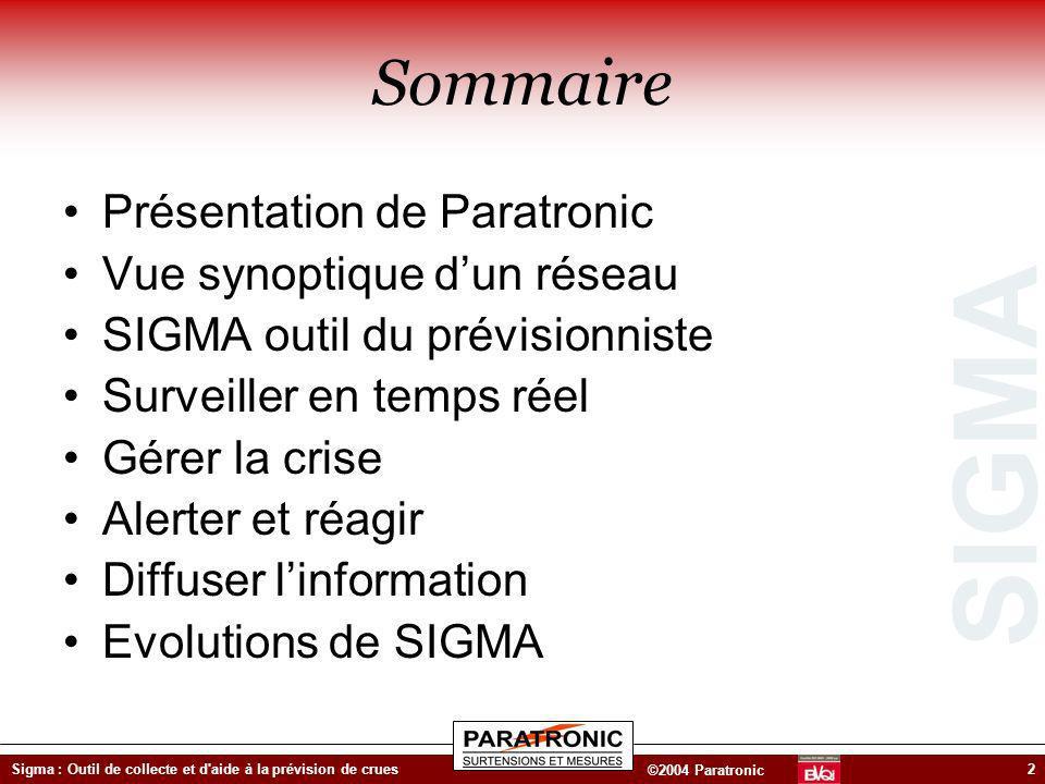 Sommaire Présentation de Paratronic Vue synoptique d'un réseau