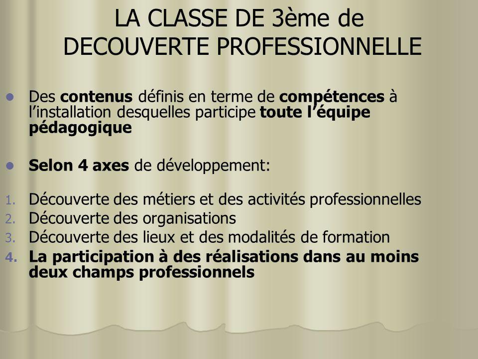 LA CLASSE DE 3ème de DECOUVERTE PROFESSIONNELLE