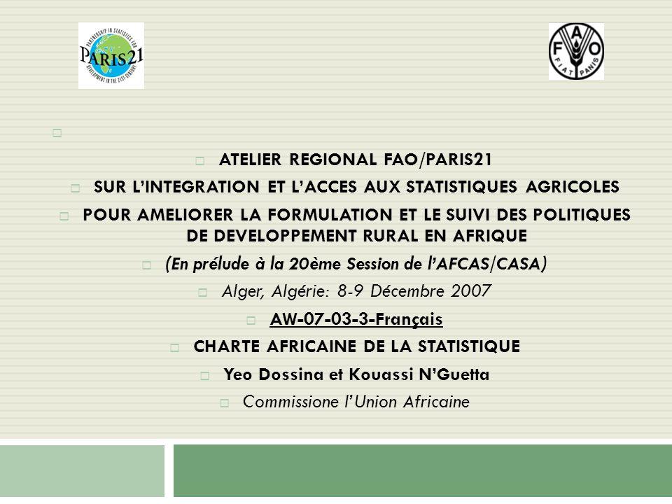 ATELIER REGIONAL FAO/PARIS21