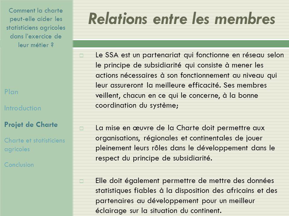 Relations entre les membres