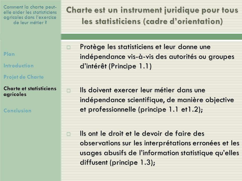 Comment la charte peut- elle aider les statisticiens agricoles dans l'exercice de leur métier