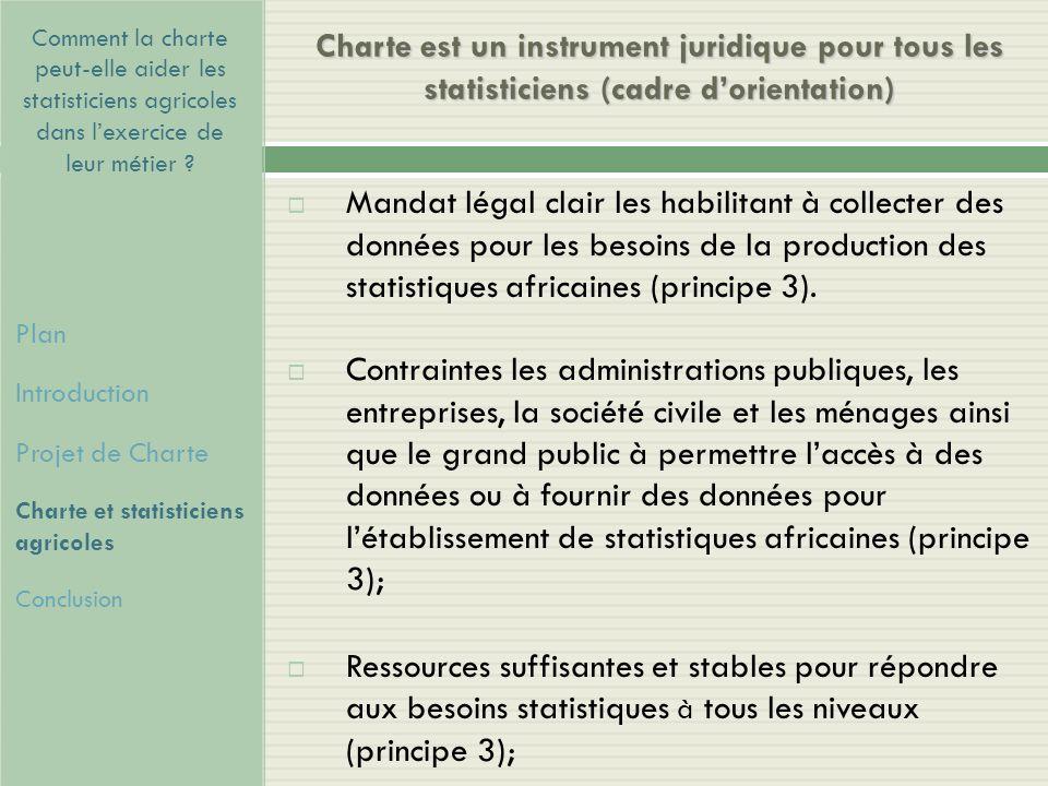 Comment la charte peut-elle aider les statisticiens agricoles dans l'exercice de leur métier