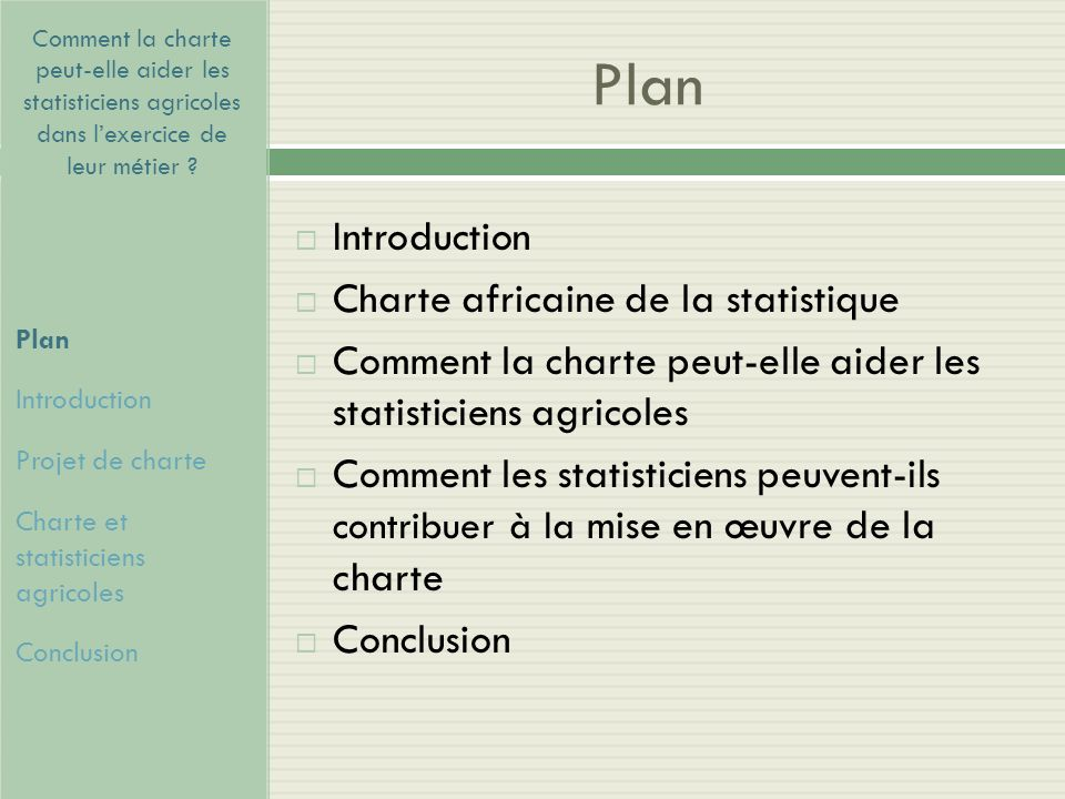 Plan Introduction Charte africaine de la statistique