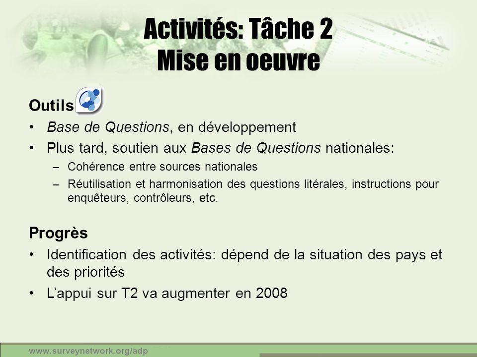 Activités: Tâche 2 Mise en oeuvre