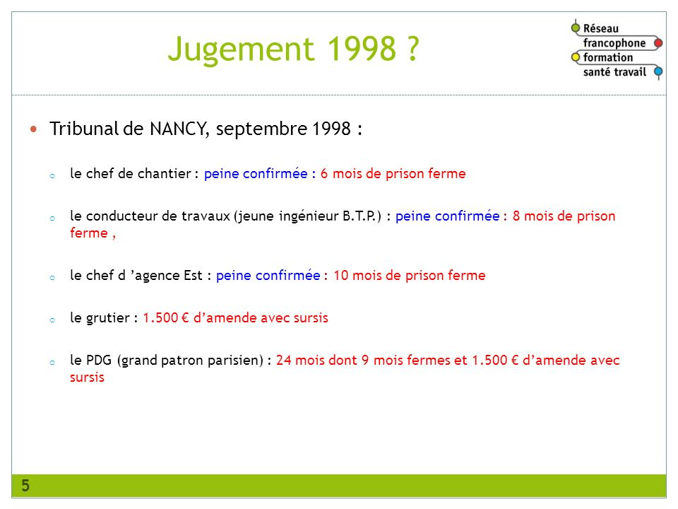 Jugement 1998 Tribunal de NANCY, septembre 1998 :