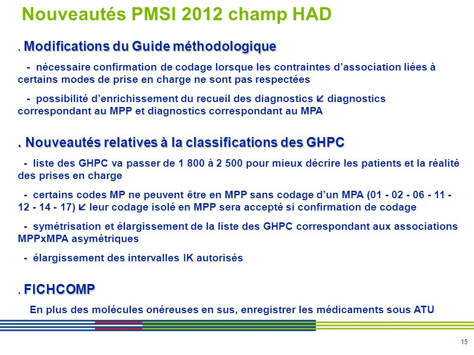 Nouveautés PMSI 2012 champ HAD
