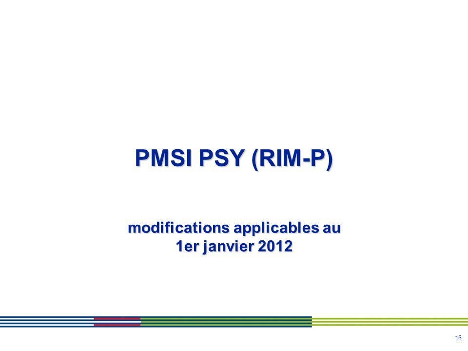 modifications applicables au 1er janvier 2012