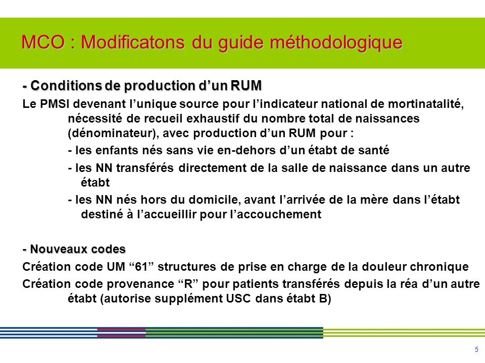 MCO : Modificatons du guide méthodologique