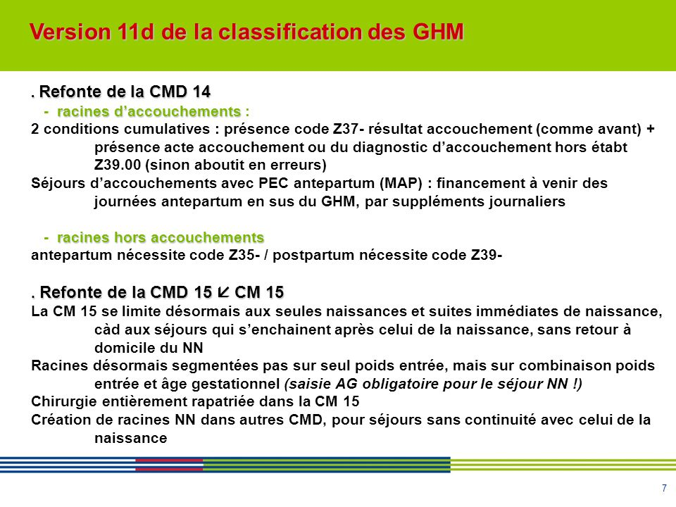 Version 11d de la classification des GHM