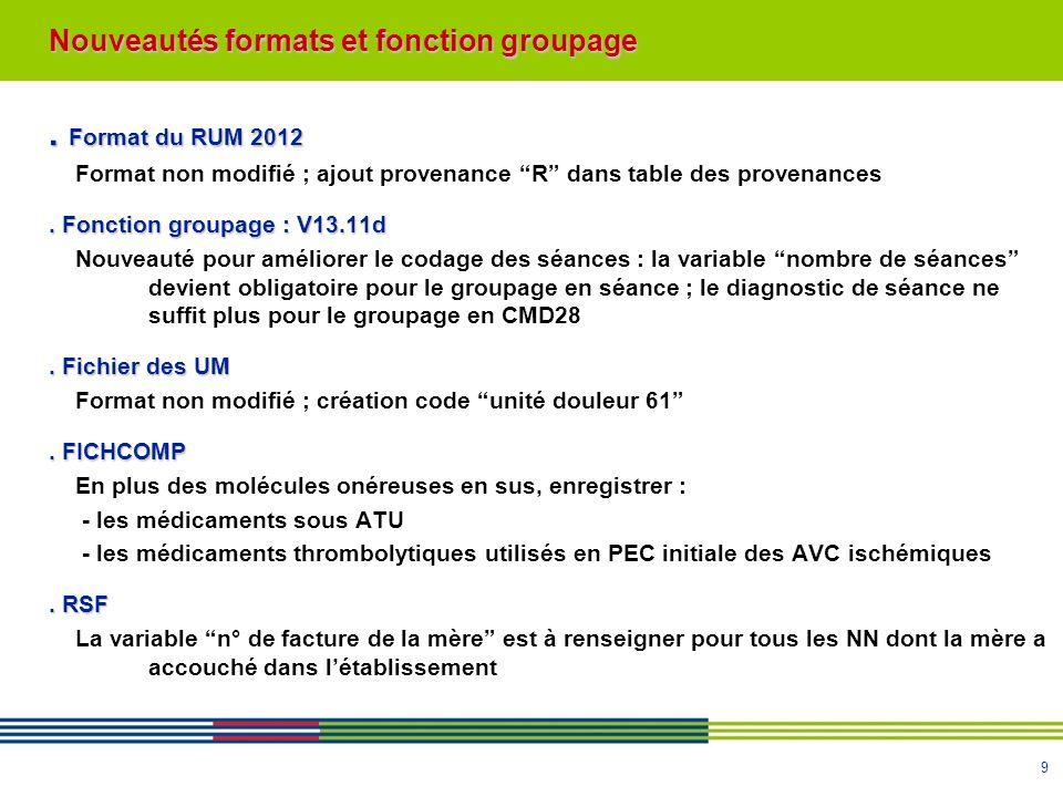 . Format du RUM 2012 Nouveautés formats et fonction groupage