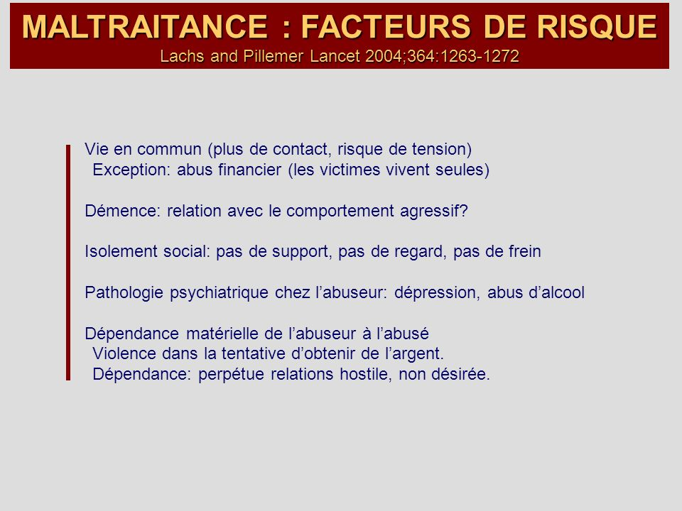 MALTRAITANCE : FACTEURS DE RISQUE Lachs and Pillemer Lancet 2004;364: