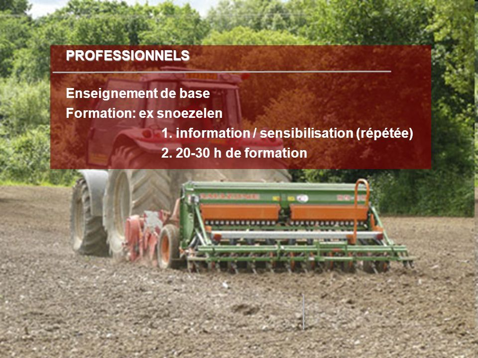 PROFESSIONNELS Enseignement de base Formation: ex snoezelen 1. information / sensibilisation (répétée)