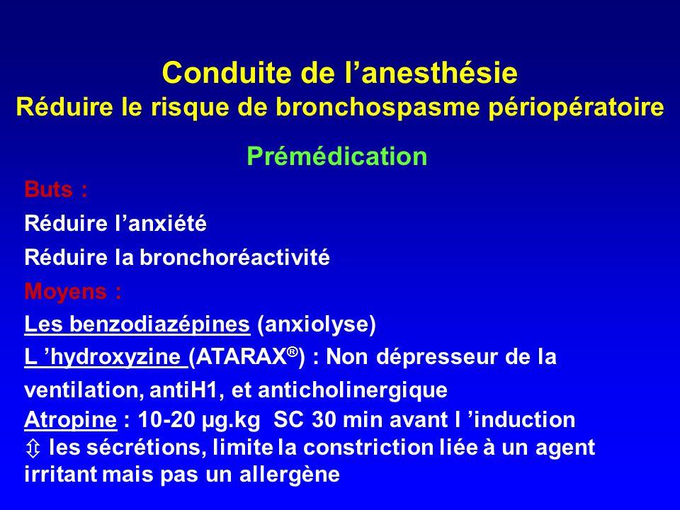 Conduite de l'anesthésie Réduire le risque de bronchospasme périopératoire