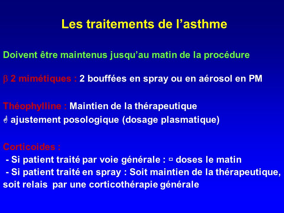 Les traitements de l'asthme