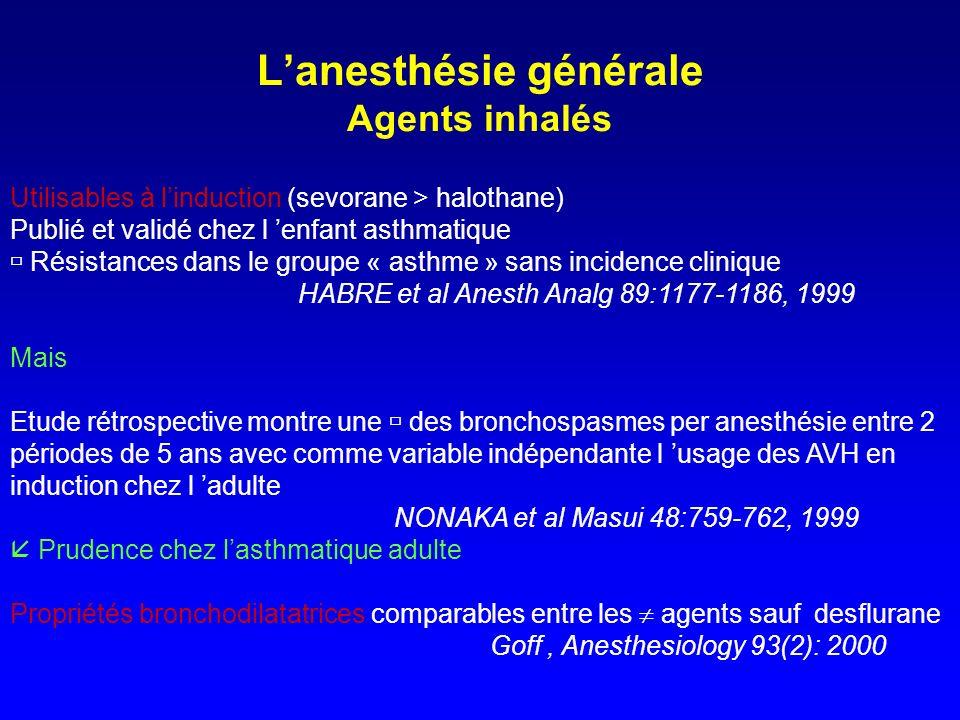 L'anesthésie générale Agents inhalés