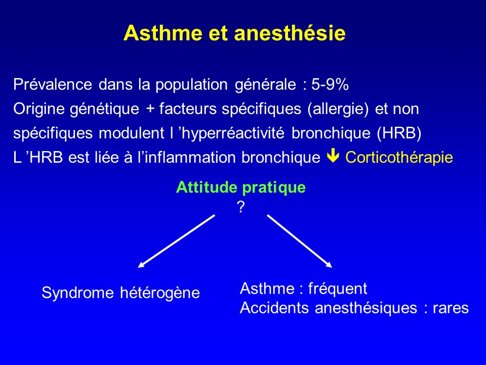 Asthme et anesthésie Prévalence dans la population générale : 5-9%