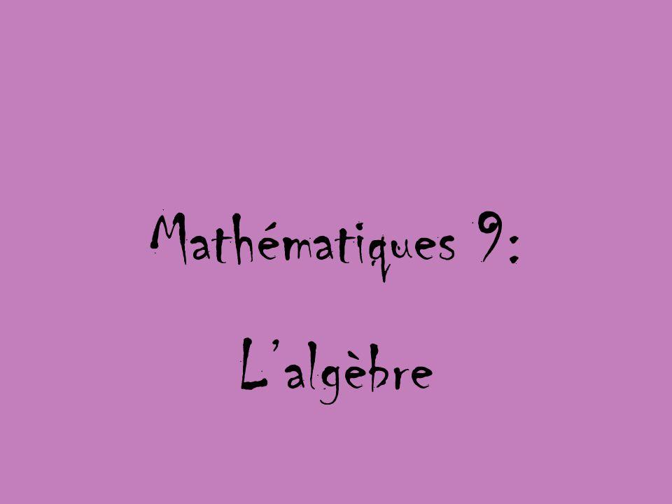 Mathématiques 9: L'algèbre