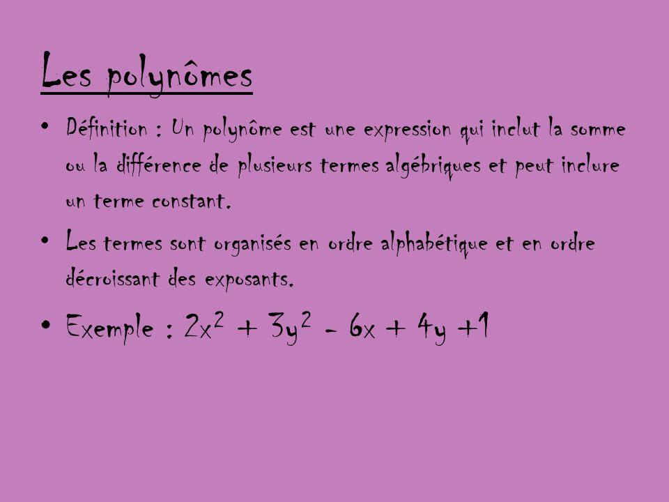 Les polynômes Exemple : 2x² + 3y² - 6x + 4y +1