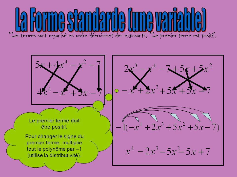 La Forme standarde (une variable)